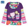Девочки одежда девушки майка 2016 девочек, модные футболки детские отпечатано цветочные девушка футболки дети одежда повседневная футболки