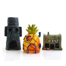 Mini Aquarium Decoration SpongeBob Figures Pineapple & Crab Squidward House Cartoon Resin Ornaments Fish Tank Decor