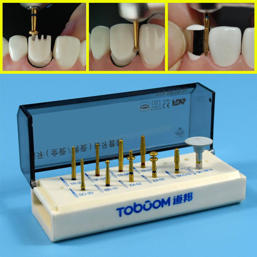 1 Set Dental Porcelain Veneer System Kit For Posterior Ceramic Zirconia Crown Dentist Lab Burs FG0710D