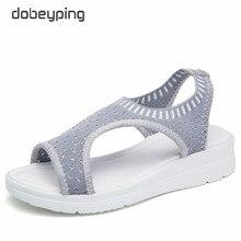 Dobeyping Stretch Stof Vrouwen Sandaal Zacht Vrouw Schoenen Zomer vrouwen Loafers Ademend Strand Vrouwelijke Sandalen Grote Maat 35  43