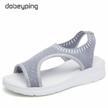 dobeyping Stretch Fabric Women Sandal Soft Woman Shoes Summer Womens Loafers Breathable Beach Female Sandals Large Size 35-43