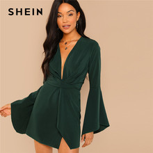 be527fa24f SHEIN Green Highstreet Party Elegant Night Out Plunge Neck Bell Sleeve  Sheath Dress 2018 Autumn Slim Modern Lady Women Dresses