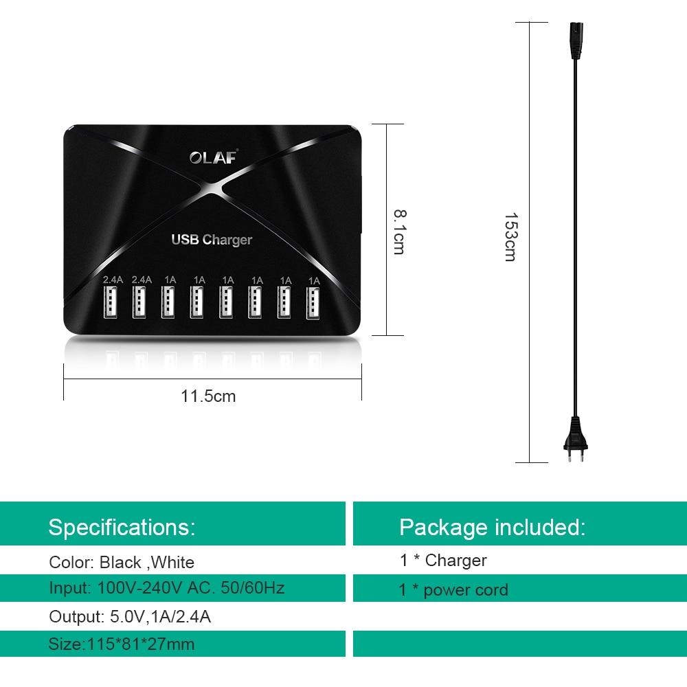 Olaf 8 Port Smart USB Charger Multi-Port USB Charging Station Desk USB Wall Travel Charger for iPhone Samsung Smartphone Tablets