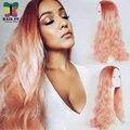 Durazno Rosa Ombre Onda Del Cuerpo Del Frente Del Cordón Peluca de pelo Sintético larga natural de la rayita del pelo de dos tonos estilo a prueba de calor para mujeres