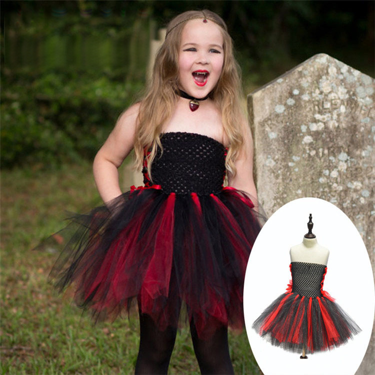 Children's Day Fancy Dress Vampire Role Play Costume For Girl Halloween Cosplay Vampire Costumes Kids Gothic Vampire Outfit