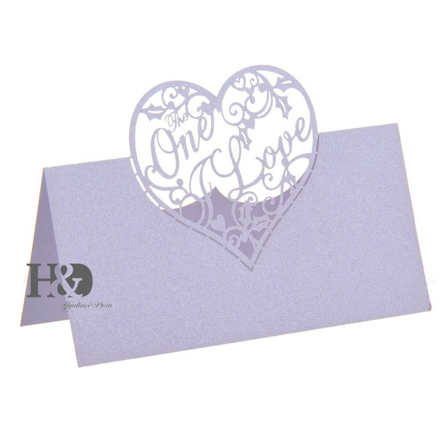 laser cut two colors love heart 12 pcs name place card for glass cup table card