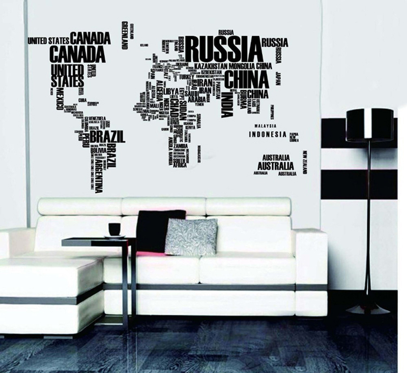 1set 2pcs english word world map large black removable wall decals 1set 2pcs english word world map large black removable wall decals book shelf vinyl wall sticker bedroom decoration 116190cm in wall stickers from home gumiabroncs