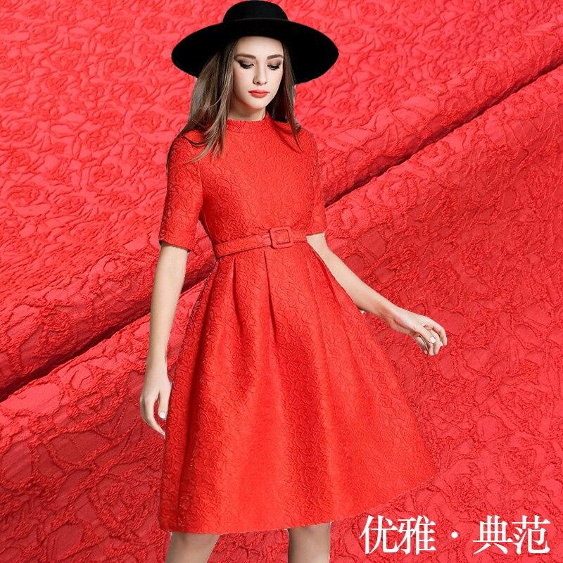 143 cm breed speciale event rode elegante elegante jacquard stof herfst en winter jurk jas damast mode stof verticale zin