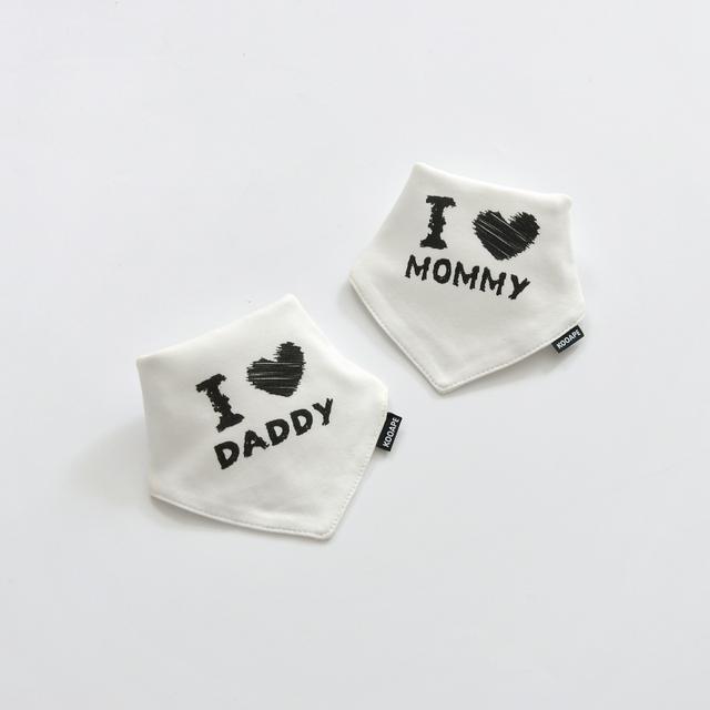 I 🖤 Mommy & I 🖤 Daddy Lot Baby Bibs Kids – 21JS