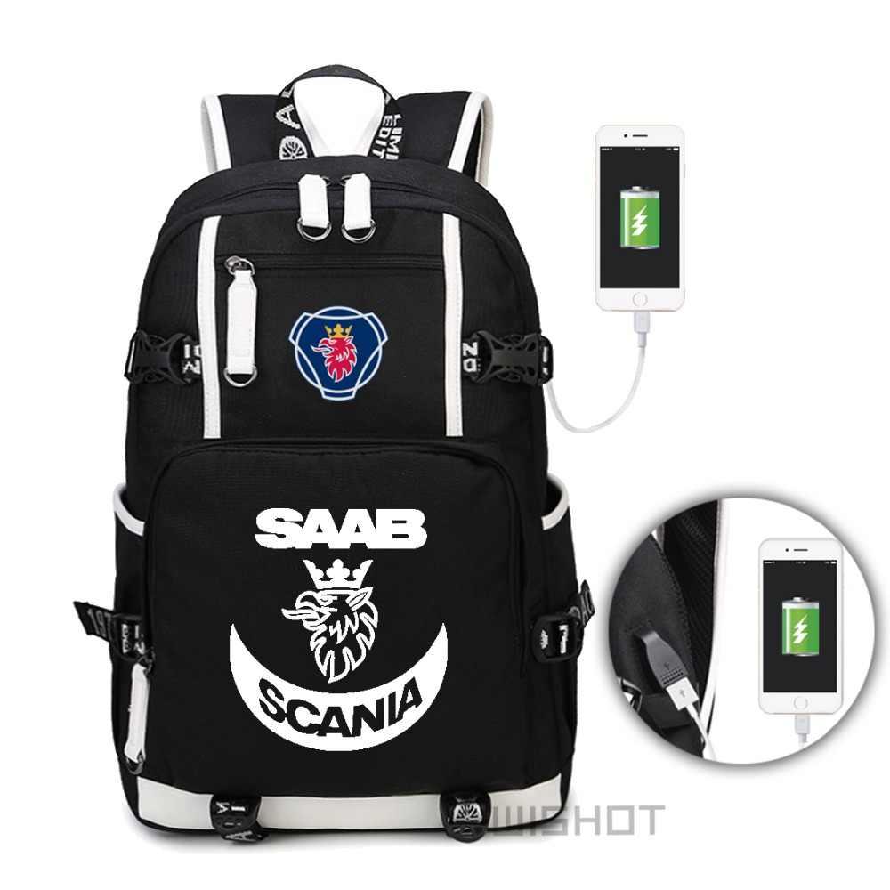 719703e32984 WISHOT SCANIA Saab рюкзак для подростков для мужчин женщин модная школьная  сумка дорожная зарядка через usb