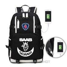 WISHOT סקאניה סאאב תרמיל עבור בני נוער גברים נשים אופנה בית ספר תיק נסיעות USB טעינת תיק משולב תיק