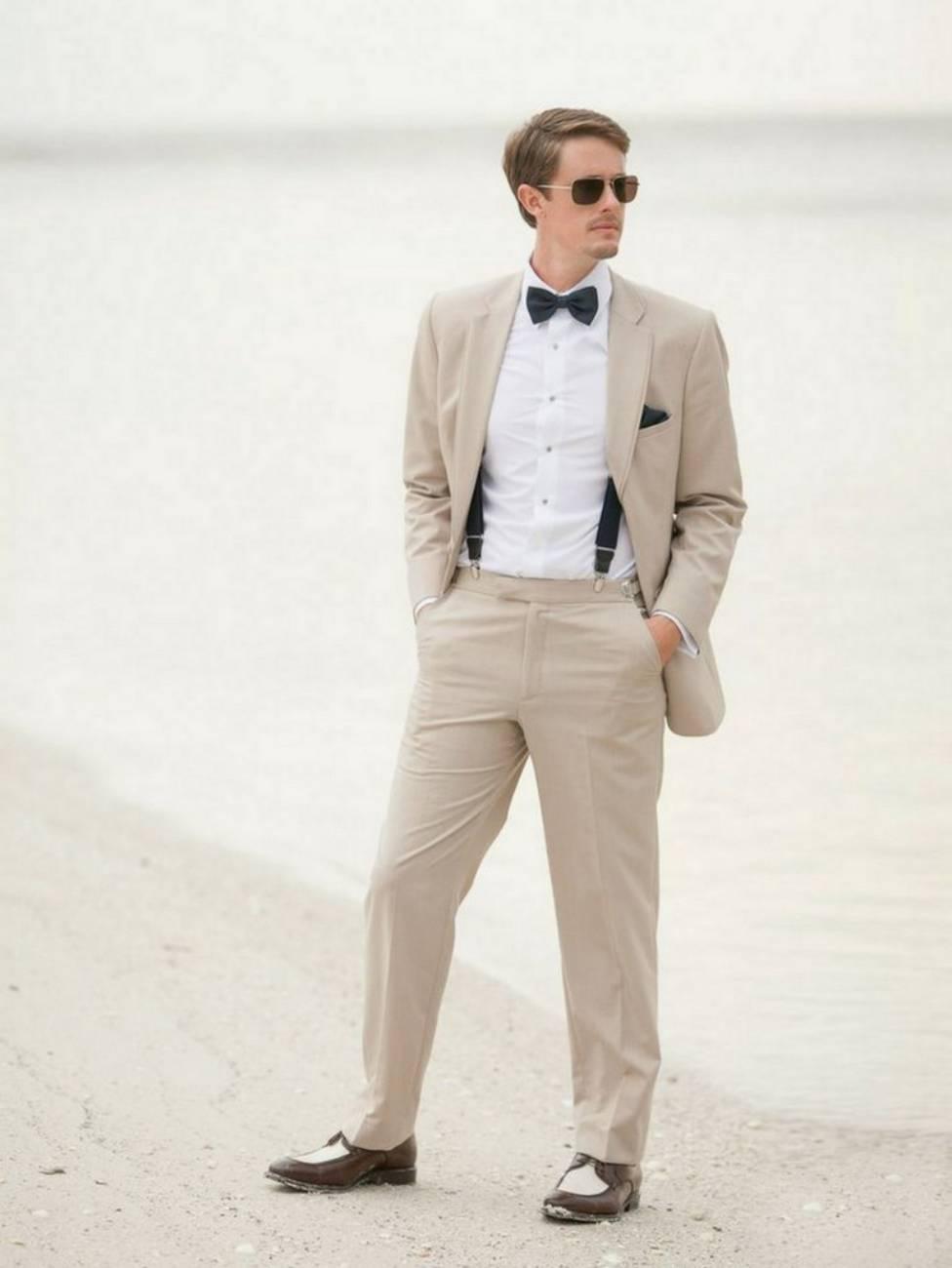 Latest Coat Pant Designs Beige Causal Wedding Suits For Man Custom Beach Slim Fit Bridegroom 2 Pieces Tuxedo Jacket+Pants 195