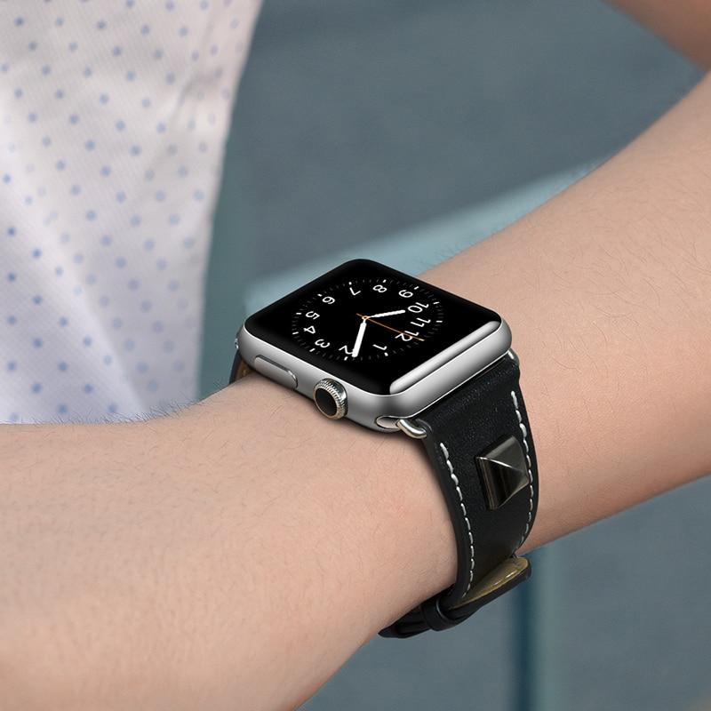 Filiwatch с заклепками из натуральной кожи ремешок для наручных часов Apple Watch версии