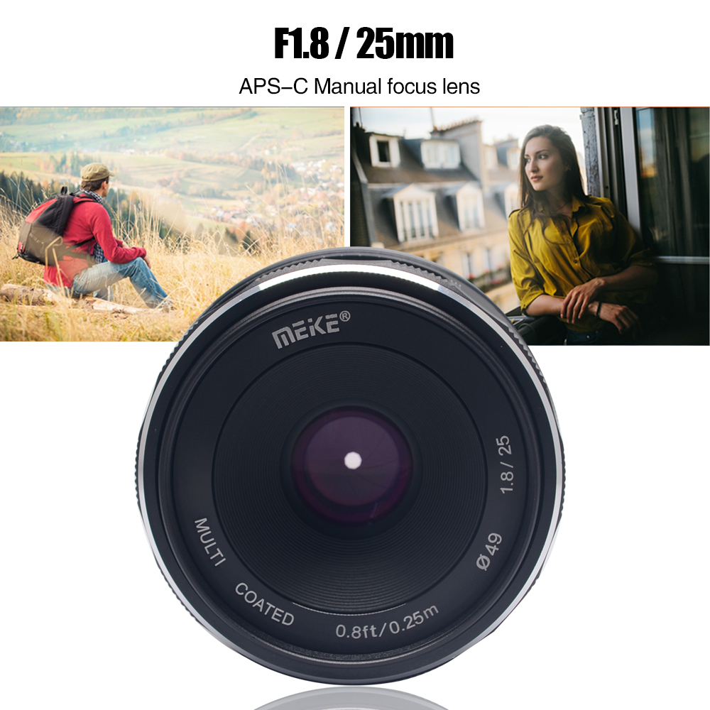 Meike 25mm f/1.8-16 Large Aperture Wide Angle Lens Manual Focus Lens for Sony E-mount Mirrorless Cameras with APS-C