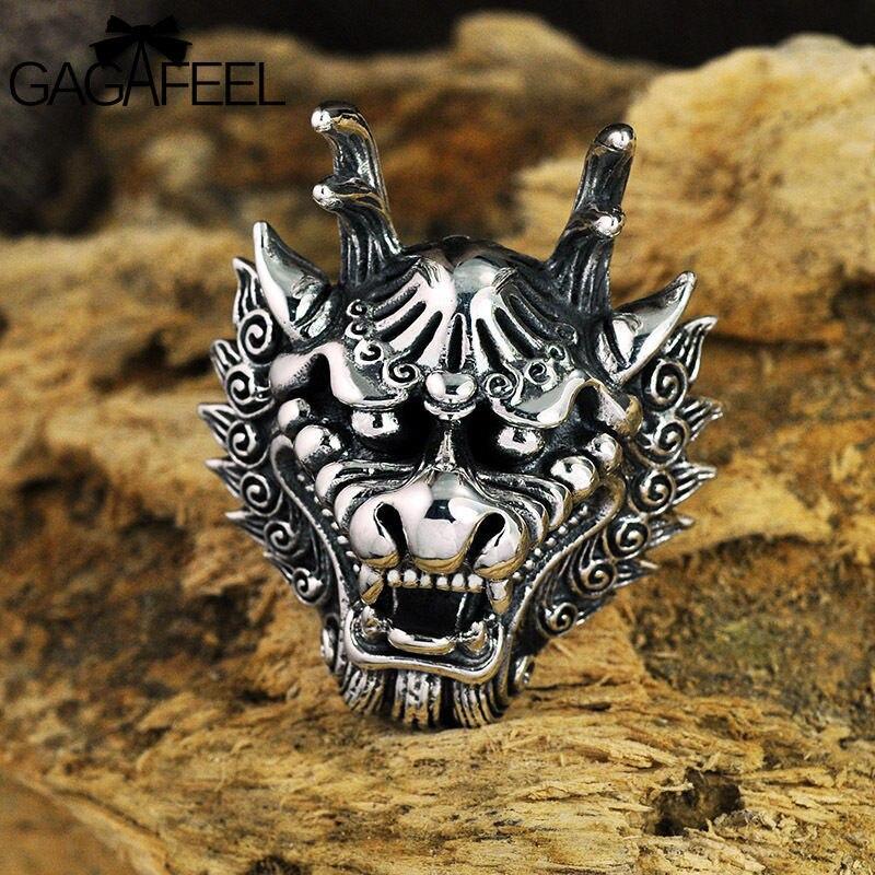GAGAFEEL di Modo 100% Reale 925 Sterling Silver Dragon Head Anello di New Punk Delle Signore Degli Uomini di Fidanzamento Anello per il Pollice Uomini Dei Monili Dei Commerci All'ingrosso