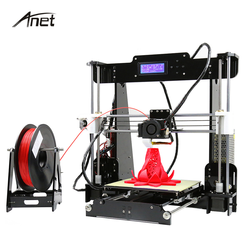 Anet Desktop 3D Printer Kit Big Size Acrylic & Matel Reprap Prusa i3 DIY 3D Printer Aluminum Hotbed Gift 8GB SD Card Tools anet a6 3d desktop printer kit