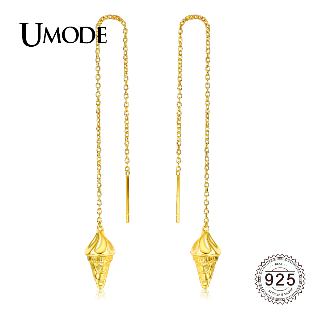 e379bc0f94daf Details about UMODE New Long Chain Ice Cream Shape 925 Sterling Silver  Tassel Drop Earrings