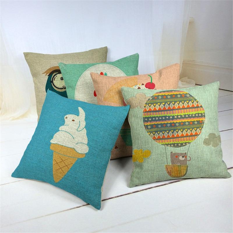 Icecream Hot Air Balloon Cushion Cover balloon Home Decor Linen Cotton Pillow Cover Decorative Throw owl Pillow Pillowcase