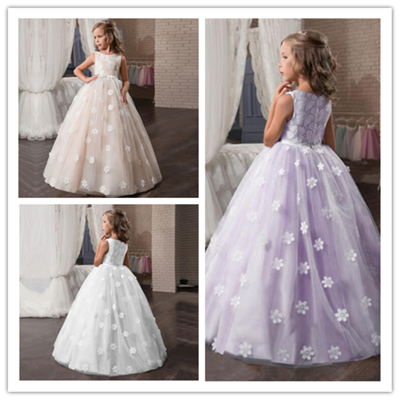 Flower     Girls     Dress   Wedding Pageant Bridesmaids Tulle Long Prom Halloween Party Elegant Princess Formal   Dresses   For Teen   Girl