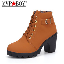 MVP BOY New Autumn Winter Women Boots High Quality Solid Lace-up European Ladies shoes PU Leather Fashion