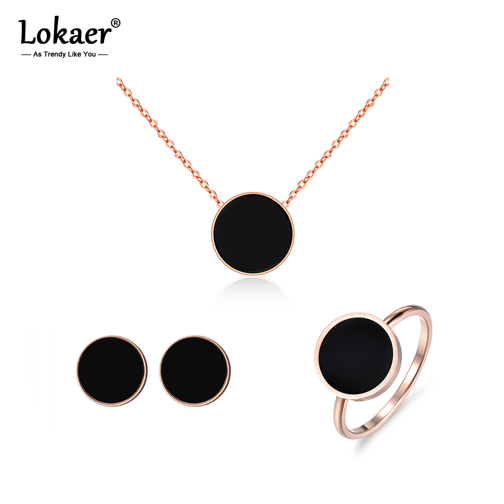 Lokaer Rings-Sets Bracelets Chain Necklaces Stud-Earrings Wedding-Jewelry Acrylic Steel title=