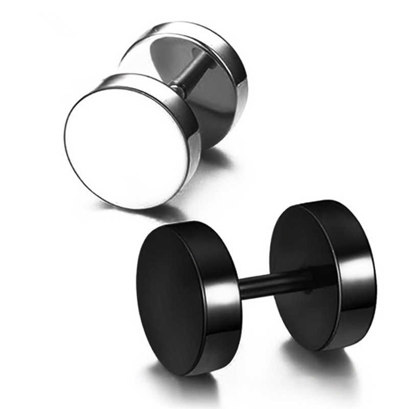 1 PCS Black Silver Stainless Steel Earrings Women Men's Barbell Dumbbell Punk Gothic Stud Earring Female  Jewelry