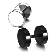 1 PCS Classic Black Silver Stainless Steel Earrings Women Men's Barbell Dumbbell Punk Gothic Stud Earring For men Jewelry.