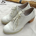 Genuine leather shoes women US size 9.5 handmade lace up pumps 2017 sping Retro British style oxford shoes for women white beige