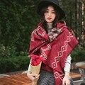 Осень и зима новый женский национальный ветер двусторонней форме ромба шарф Геометрическая графика утолщение теплый платок