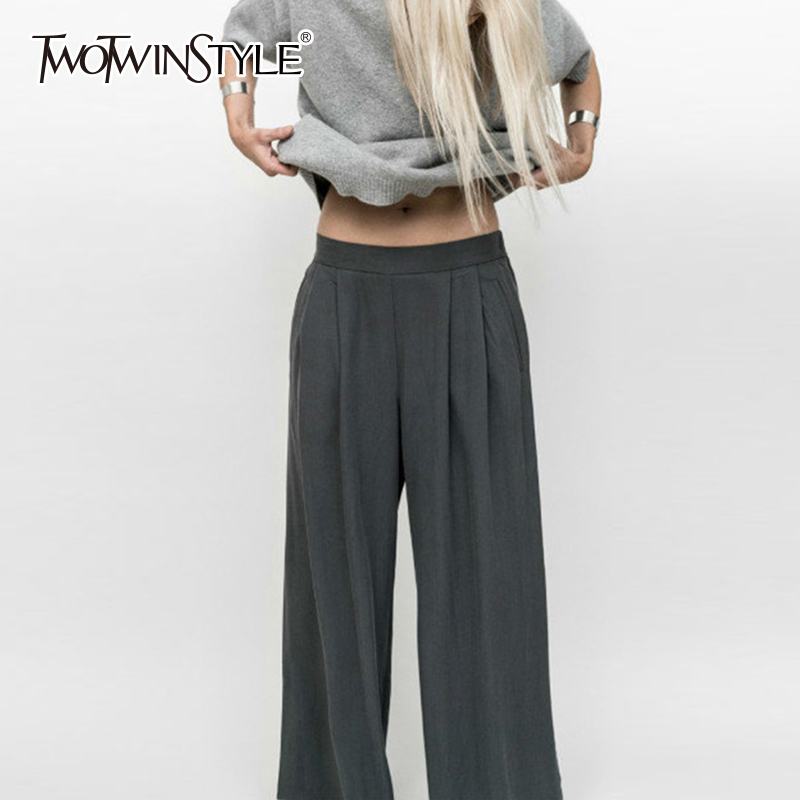 TWOTWINSTYLE OL   Wide     Leg     Pants   Female Elastic High Waist Ruched Pocket Long Trousers For Women 2018 Spring Summer Fashion New