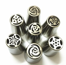 7PCS Stainless Steel Russian Tulip Icing Piping Nozzles Pastry Decorating Tips Cake Cupcake Decorator Rose Kitchen Accessories