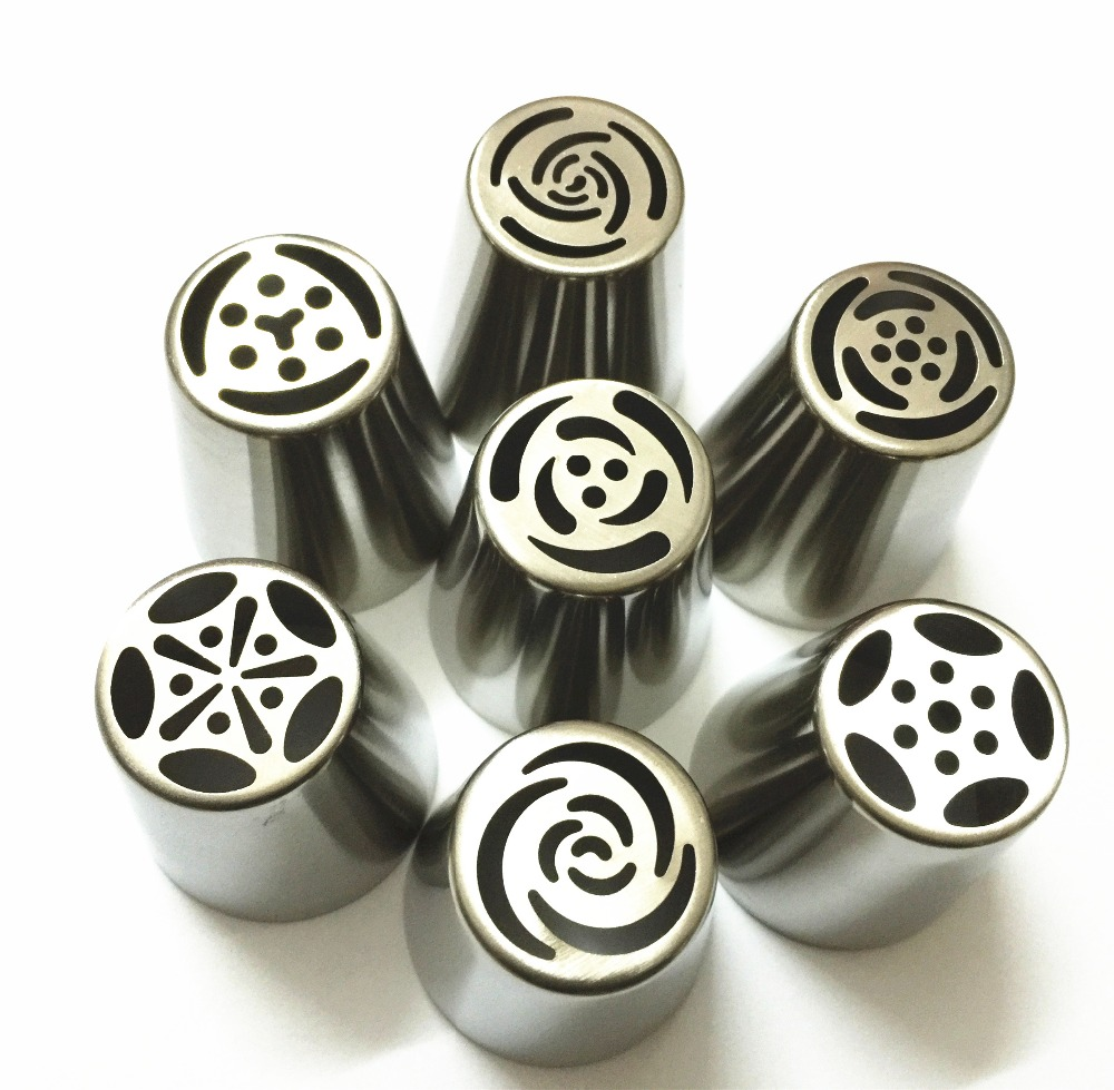 7pcs Stainless Steel Russian Tulip Icing Piping Nozzles