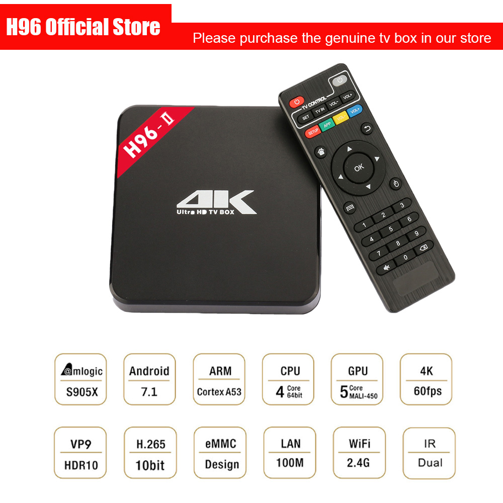 H96 2nd Gen Smart TV Box Amlogic S905 Octa Mali-450MP GPU 1G/8G 2G/16G Android 7.1 2.4G/5.8GHz Wifi Bluetooth Set Top Box IPTV телеприставка mobase mxiii amlogic s802 android iptv 2 0 4 4 2 octa gpu 4k 1g 8g xbmc