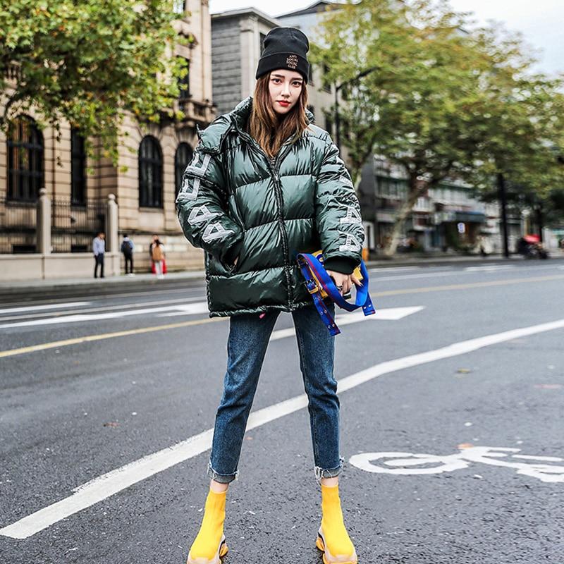 Femelle Fille Femmes Lumineux Coton Visage Nouvelle Hiver Pain Veste Moelleux De 2019 Streetwear À Vert Capuche Manteau Parka Sustans Oversize dq6EfYtfw