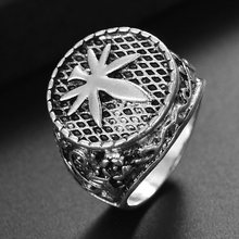 Canada Maple Leaf Signet Finger Ring For Men Vintage Jewelry Male Silver Rings(China)