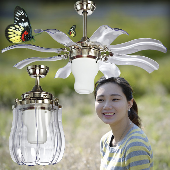 """42/"""" Bluetooth Music LED Stealth Ceiling Fan Lamp Chandelier Mobile RemoteControl"""