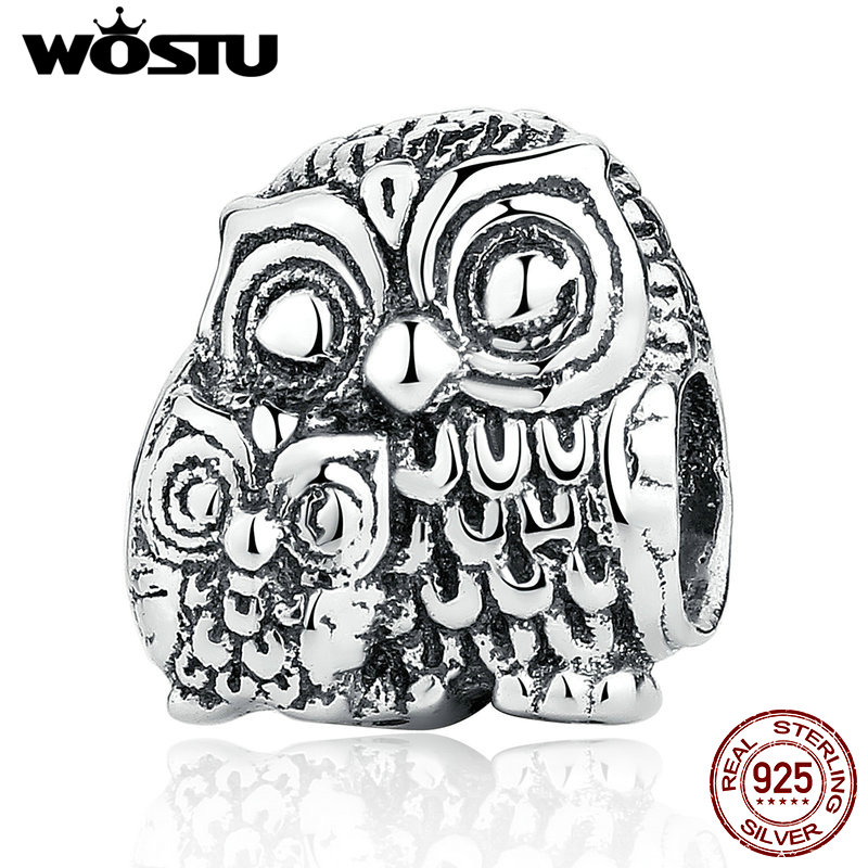 Vintage 100 925 Sterling Silver Charming Owls Charms Beads Fit Original Pandora Bracelet Pendant Authentic Fine