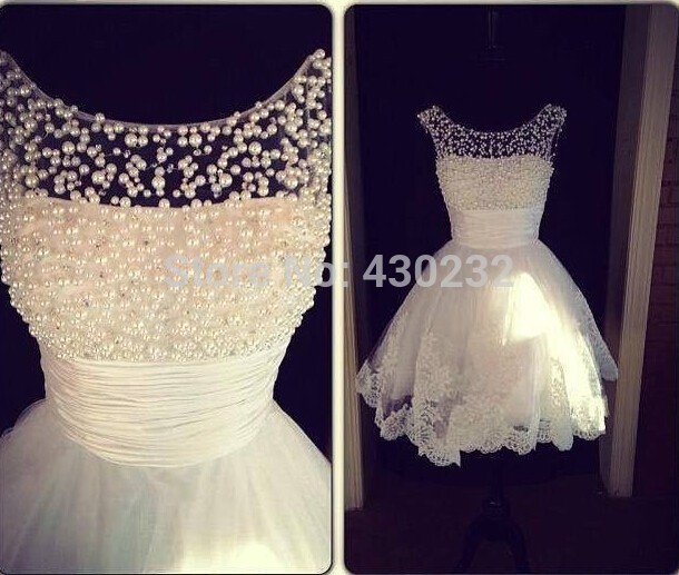 Charming New A Line Jewel Collar Sleeveless White Applique Pearls Formal Party Homecoming Dress 2019 Short Mini Prom Dresses(China)