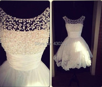 Charming New A Line Jewel Collar Sleeveless White Applique Pearls Formal Party Homecoming Dress 2015 Short
