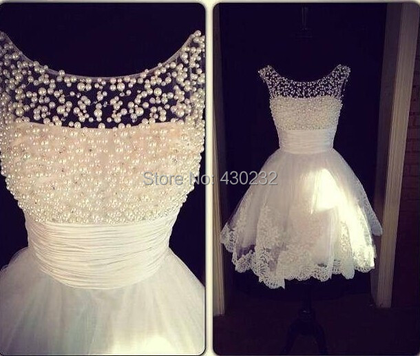 Charming New A Line Jewel Collar Sleeveless White Applique Pearls Formal Party Homecoming Dress 2017 Short Mini Prom Dresses