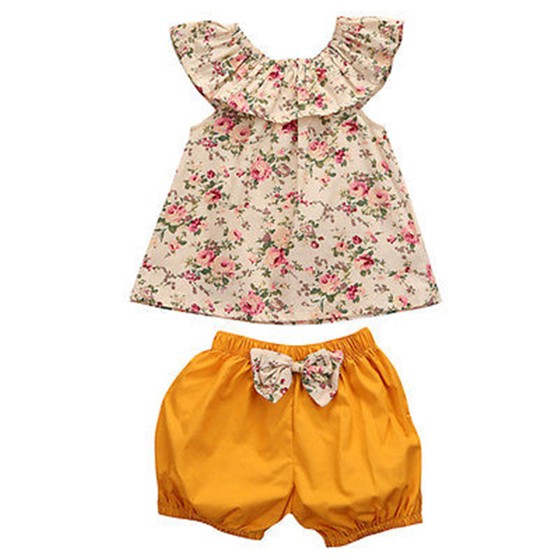 Hot sales Sweet Baby Girls Clothes Sleeveless Tops+Shorts Pants 2pcs Outfits Toddler Clothing Set