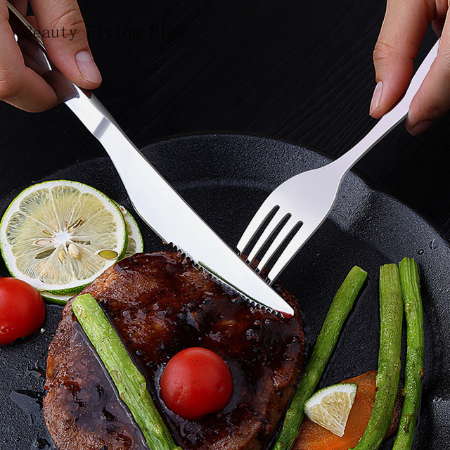 Explosion models family stainless steel dinner silver cutlery set fruit salad tableware kitchen dinner knife and fork set