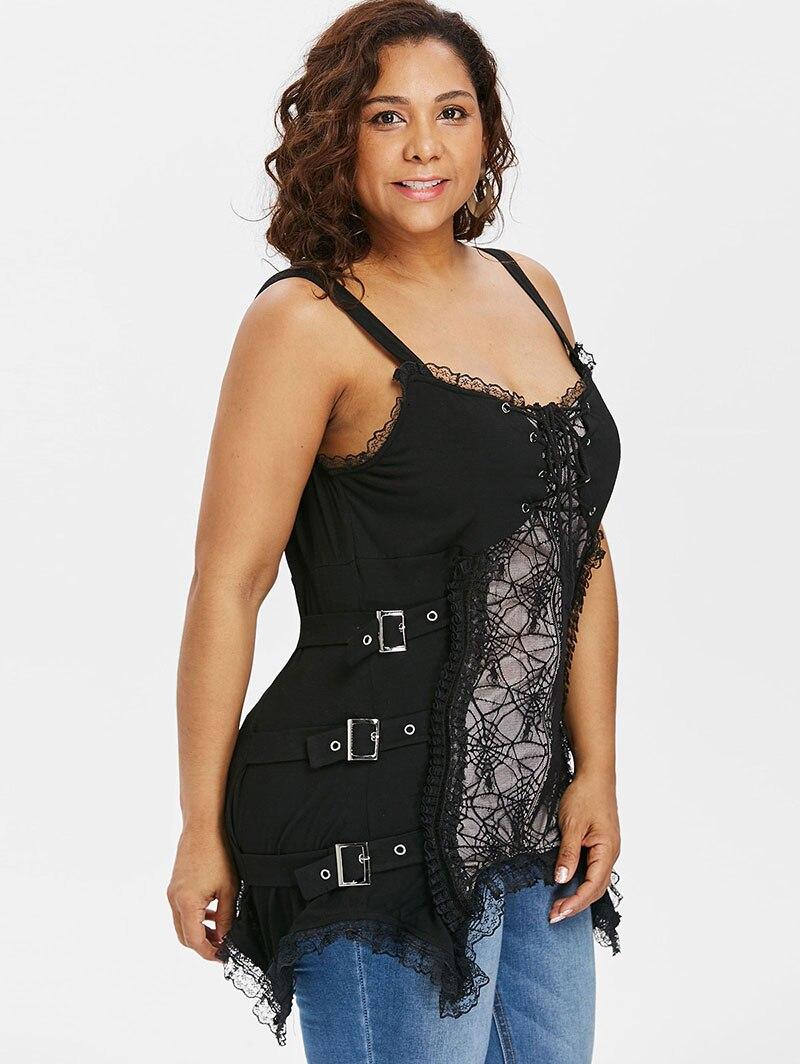 d99d61be1047c PlusMiss Plus Size Sexy Lace Punk Rock Gothic Cami Tops Women 5XL Lace Up  Spaghetti Strap Vest Camisole Big Size XXXXL XXXL XXL -in Camis from Women s  ...