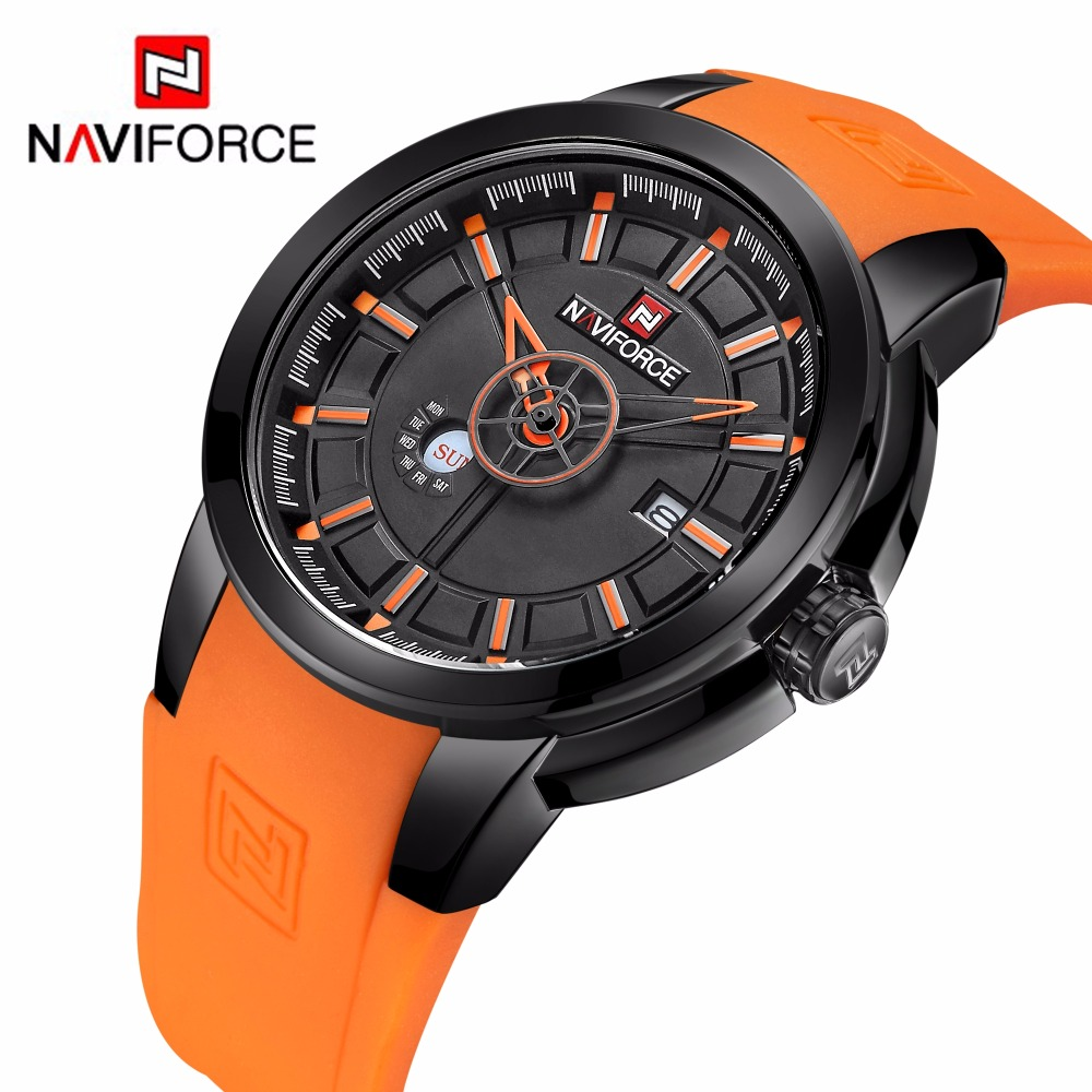 New Men's Watches Top Luxury NAVIFORCE Brand Fashion Sport Military Watch Men Quartz Wrist watch Rubber Clock dropshipping splendid brand new boys girls students time clock electronic digital lcd wrist sport watch