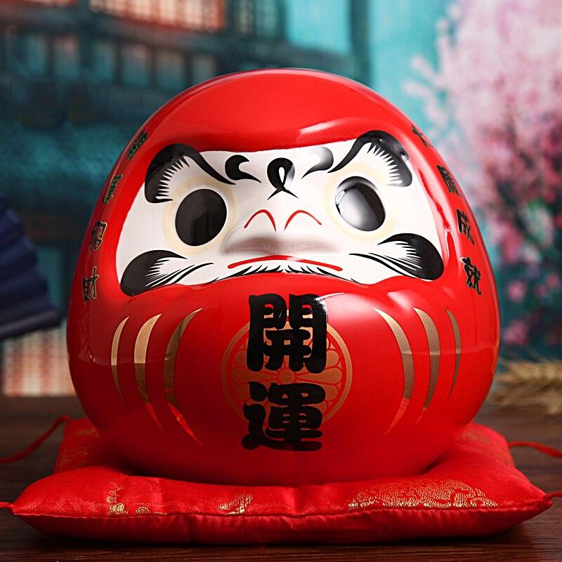7.5 pouces japonais en céramique Daruma poupée porte-bonheur Fengshui Zen ornement pièce maîtresse tirelire maison de table décoration