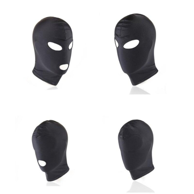 Fetish BDSM Bondage Mask Hood Tighten Breathable Open Mouth Eye Mask Cosplay Sex Toys Erotic Headgear Mask Man Women Gay