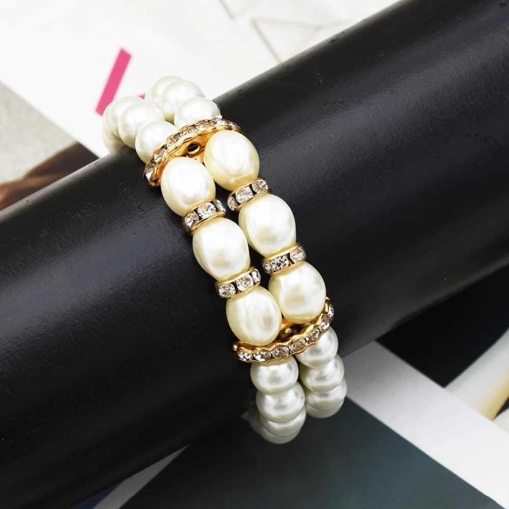 Корейский модный элегантный двухрядный искусственный жемчуг кристаллы браслет для женщин вечерние ювелирные изделия аксессуары