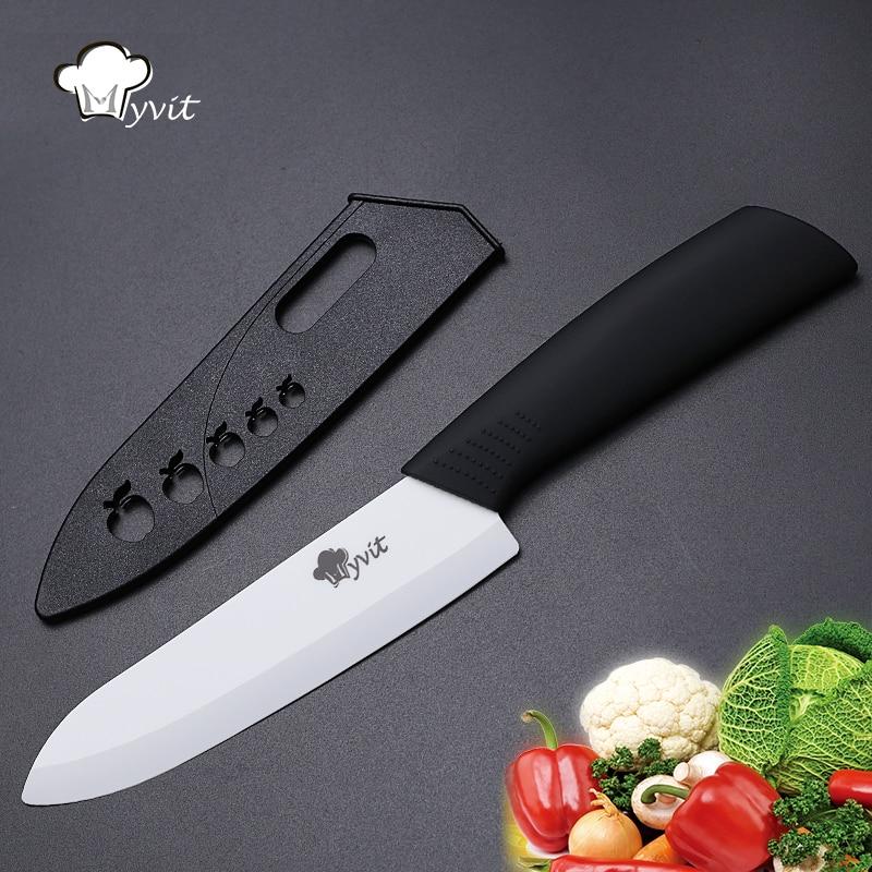 Cuchillo de cerámica Myvit Cuchillo de fruta Herramientas de cocina Cuchillo individual 3 '' / 4 '/' 5 '/' 6 '' Hoja blanca 8 Mango de color Cuchillos de cocina