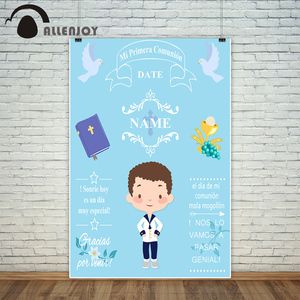 Image 3 - 사진 스튜디오에 대 한 Allenjoy 배경 파란색 작은 소년 첫 번째 성령 성 찬 식 장식 배경 디자인 photocall 사용자 지정
