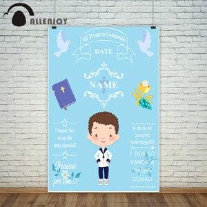 Image 3 - خلفيات Allenjoy للتصوير بالاستوديو الأزرق ليتل بوي الأولى المقدسة بالتواصل الديكور تخصيص خلفية تصميم فوتوكورد